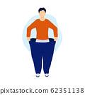 Slim man pulling his oversized pants 62351138