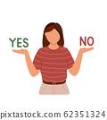 Woman choosing between yes or no 62351324