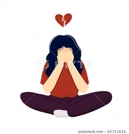 Depressed woman with cracked heart over her head 62351616