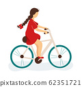 Little girl bicycling 62351721