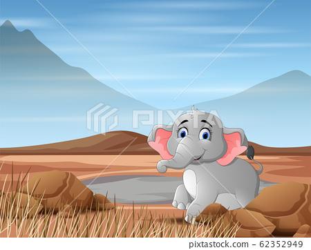 Elephant animal cartoon in the dry land 62352949