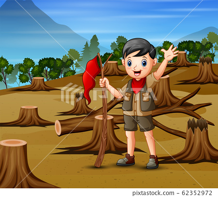 Deforestation scene with a scout boy 62352972