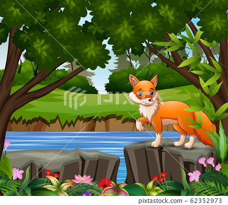 A fox cartoon playing in the park 62352973