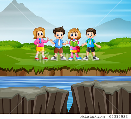 Students studying on the nature background 62352988