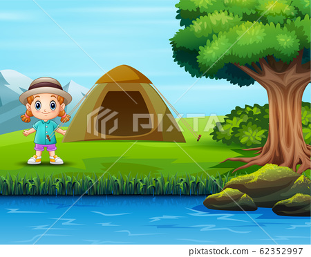 Children camping in the green landscape 62352997