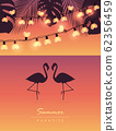 tropical summer by the sea with flamingos fairy light and palm leaves 62356459