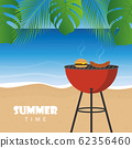 summer time barbeque on the beach with palm leaf 62356460