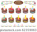Birthday cake and number candle_set_choco 62359063