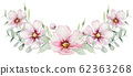 wreath of blossom pink cherry flowers in watercolor style with white background. Set of summer blooming japanese sakura branch decoration 62363268