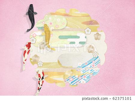 雪輪 - 일본 장식 - 와비 사비 - 우아하게 헤엄 치는 비단 잉어 62375101