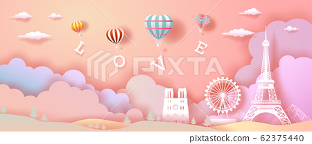 Balloons of love and Heart with eiffel tower in 62375440