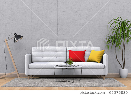 interior modern living room with sofa,  plant, lamp, decoration, 3D render 62376889