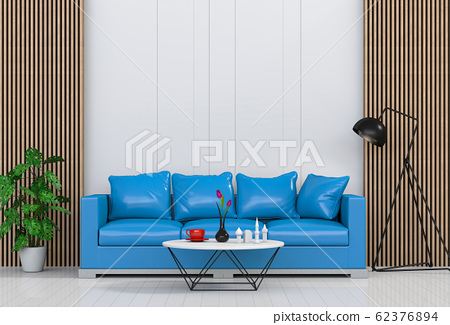 interior modern living room with sofa,  plant, lamp, decoration, 3D render 62376894