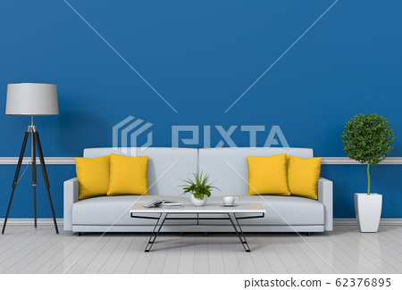 interior modern living room with sofa,  plant, lamp, decoration, 3D render 62376895
