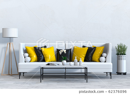 interior modern living room with sofa,  plant, lamp, decoration, 3D render 62376896