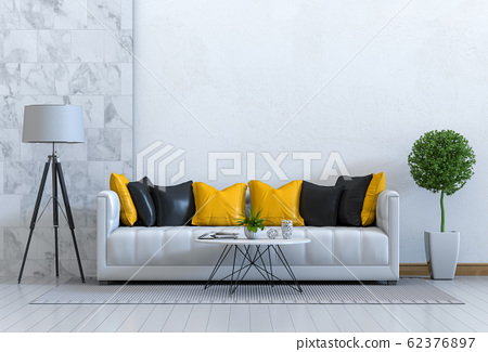 interior modern living room with sofa,  plant, lamp, decoration, 3D render 62376897