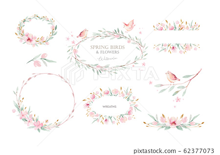 Spring bird on blooming branch with green leaves and flowers. Watercolor wedding invitation card blossom painting. Hand drawn pink wreath design. Cherry isolated branch decoration. 62377073