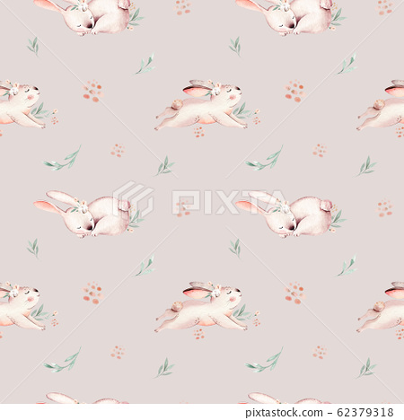 Cute Baby Rabbit Animal Seamless Easter Pattern Stock Illustration 62379318 Pixta