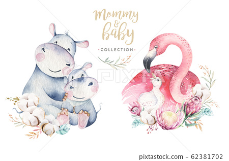 Watercolor cute cartoon illustration with cute mommy flamingo and baby, flower leaves. Mother hippo and baby illustration bird design. Tropical mom bird 62381702