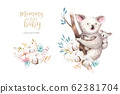 Watercolor cute cartoon little baby and mom koala with floral wreath. Isolated tropical illustration. Mother and baby design. Animal family. Kid love birthday drawing 62381704