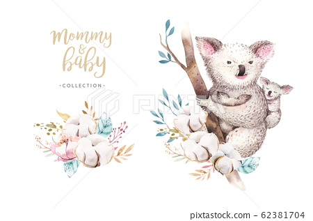 Watercolor Cute Cartoon Little Baby And Mom Stock Illustration 62381704 Pixta