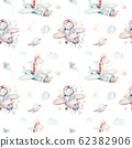 Watercolor airplane kid seamless pattern. Watercolor toy background baby cartoon cute pilot giraffe, elephant with koala, bear and bird aviation sky transport airplanes, clouds. 62382906