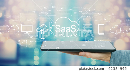 SaaS - software as a service concept with tablet computer 62384946