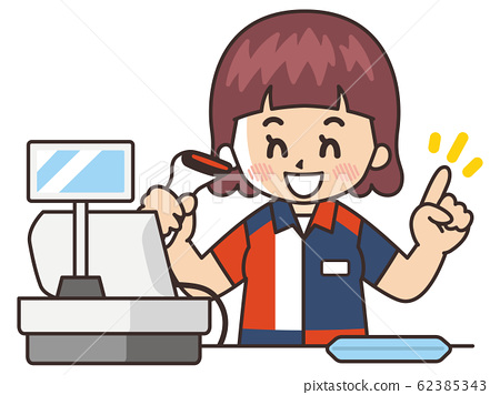 一家便利店的收銀員為客戶提供服務 62385343