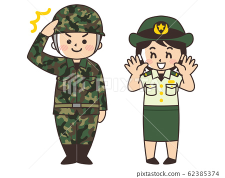 육상 자위대 원의 남녀 자위관 62385374