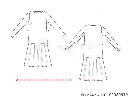Technical drawing of wrap dress. Fashion template. 62386930