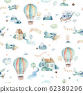 Watercolor set background illustration of a cute cartoon and fancy sky scene complete with airplanes, helicopters, plane and balloons, clouds. Boy seamless pattern. It's a baby shower design 62389296
