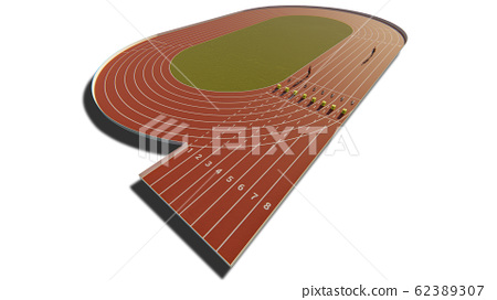 Athletic running race track isolated on the white background 62389307