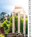 Temple of Castor and Pollux, Italian: Tempio dei Dioscuri. Ancient ruins of Roman Forum, Rome, Italy. Detailed view 62390359