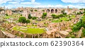 Roman Forum, Latin Forum Romanum, most important cenre in ancient Rome, Italy. Aerial panoramic view from Palatine Hill 62390364