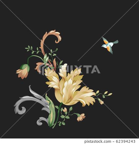 深底上優雅的花卉素材組合 62394243