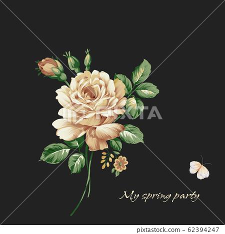 深底上優雅的花卉素材組合 62394247