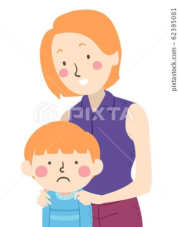 Kid Boy Feel Sad Mom Illustration 62395081