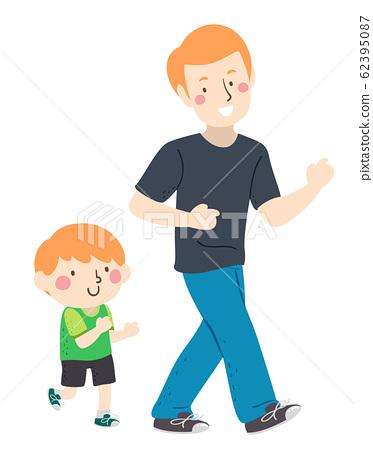 Kid Boy Dad Follow The Leader Illustration 62395087
