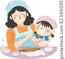 Kid Girl Mom Teach How To Bake Illustration 62395095