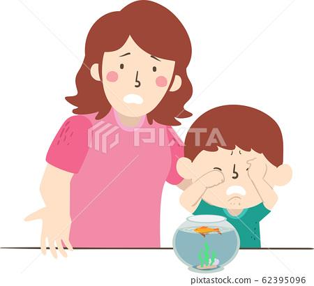 Kid Boy Mom Pet Gold Fish Dead Explain 62395096