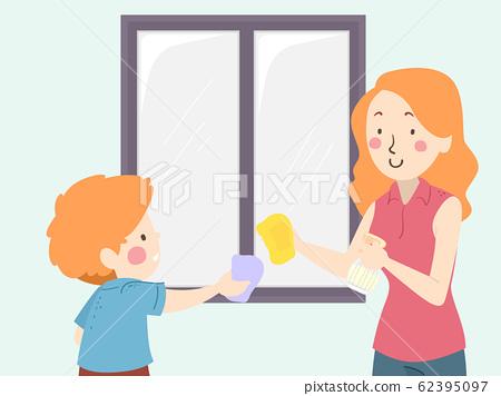 Kid Boy Mom Teach Clean Window Illustration 62395097