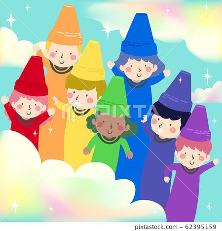 Kids Crayons Rainbow Illustration 62395159