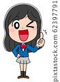 좋은 샘 업 일러스트 소재 여고생 귀여운 교복 애니메이션 62397791