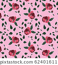 trendy 2020 fabric vintage colors seamless pattern, rose vector background 62401611