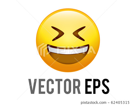Vector gradient yellow laugh happy character face 62405315