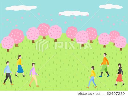 벚꽃길과 들판 꽃놀이를하는 사람들 62407220