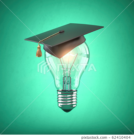 Eduction and gradfuation concept. Light bulb with 62410404