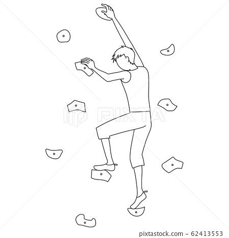 一個人做抱石(體育攀岩)(線條圖)的插圖 62413553