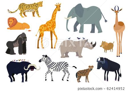 African animals, set of isolated cartoon characters elephant, giraffe and rhino, vector illustration 62414952