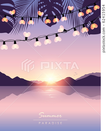 tropical summer paradise sea at sunrise with fairy light and palm leaves 62415954
